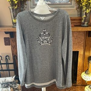 Crown & Ivy Crystal Embellished Tunic Sweater 2X